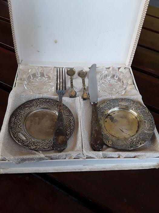 sauce, knife and fork set (8) - Silverplate