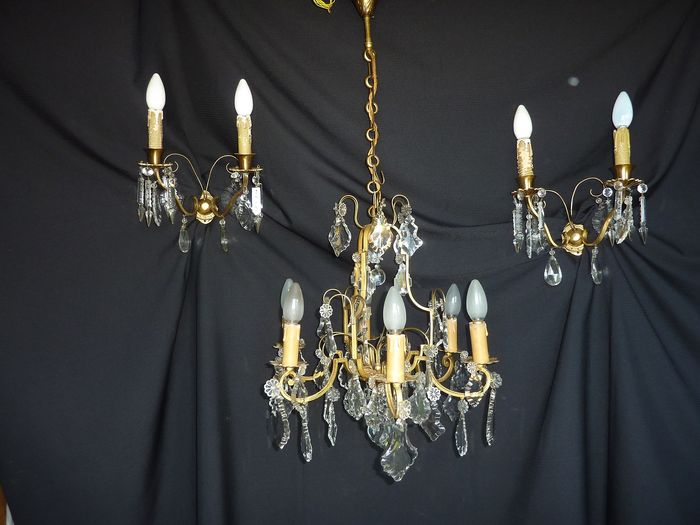 Chandelier, Wall lamp, Chandelier together with two wall lights