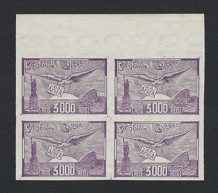 Brazilië 1937 - Airmail 3000r Violet imperforate block - Scott C38a