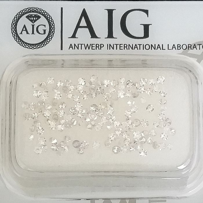 137 pcs Diamonds - 1.01 ct - Round - D (colourless), E, F - SI1, VS1, VS2, VVS1, VVS2, ***No Reserve Price***