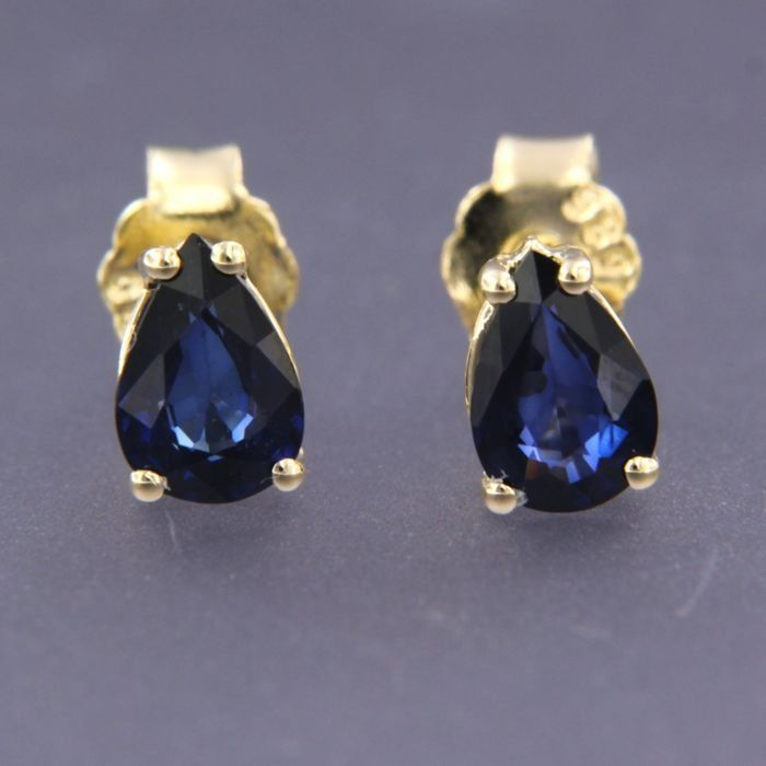 18 kt Yellow gold - Earrings - 1.40 ct Sapphire