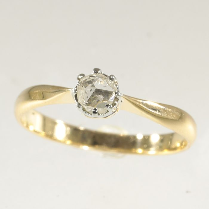 18 kt. Yellow gold - Ring, Solitair/Engagement Victorian Antique Ring - Anno 1880 -  Diamond - NO RESERVE PRICE