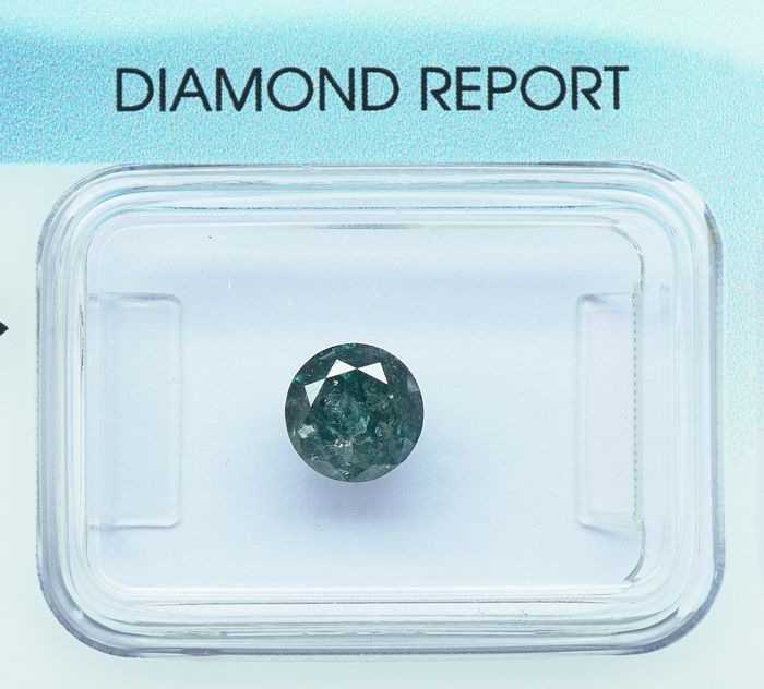 1 pcs Diamond - 0.81 ct - Round Brilliant - fancy deep blue green - I3- No reserve