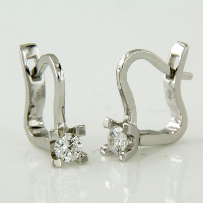 14 kt. White gold - Earrings - 0.32 ct Diamond
