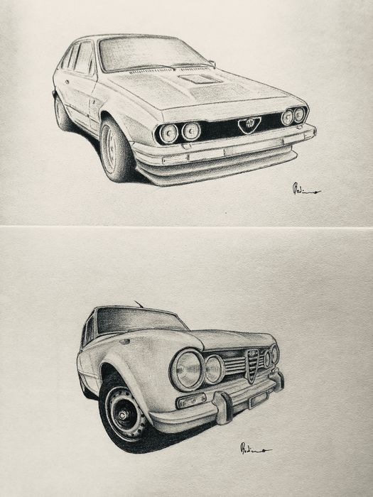 Two original and valuable drawings of Alfa Romeo by Max Robino - 2016