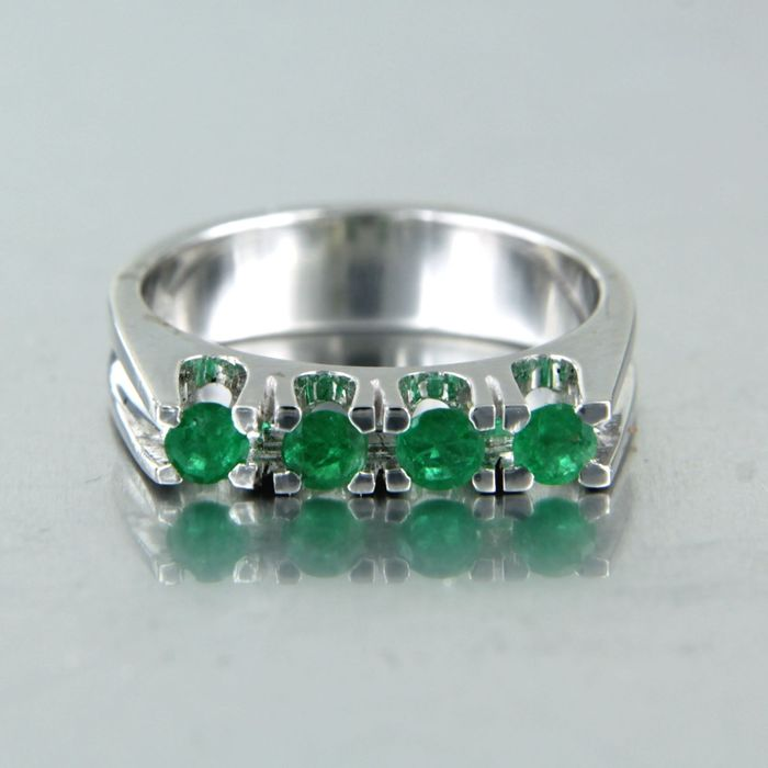 14 kt. White gold - Ring - 0.40 ct Emerald