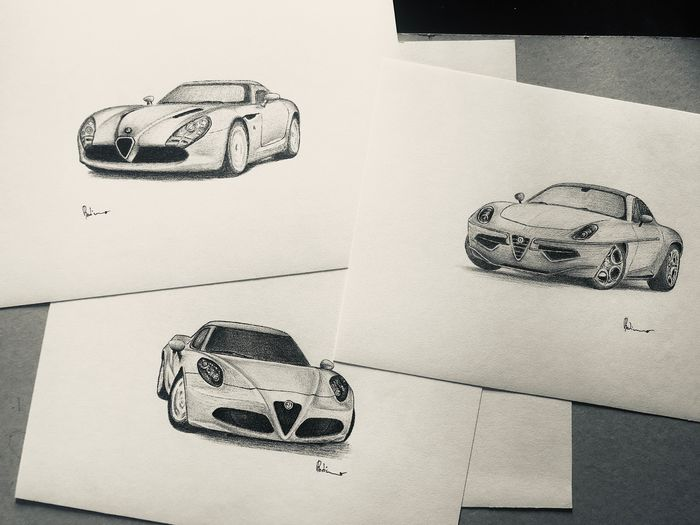 Three original and valuable drawings of Alfa Romeo 4C, TZ, Discovolante - 2017