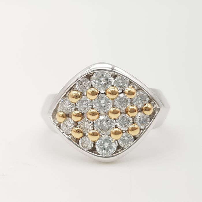 HRD NO RESERVE PRICE - 18 kt. White gold, Yellow gold - Ring - 1.00 ct Diamond