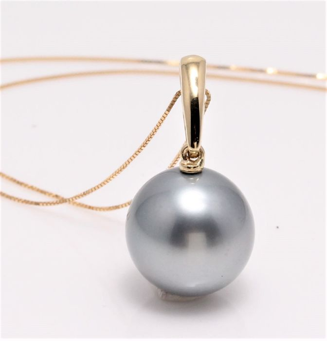 NO RESERVE PRICE - 18 kt. Yellow Gold - 12.7mm Round Tahitian Pearl - Necklace with pendant