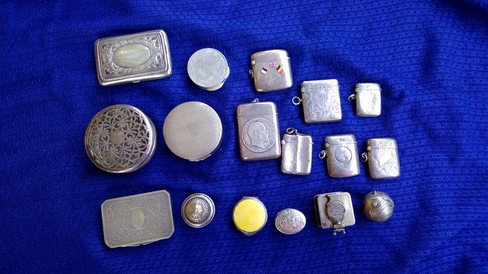 17 cans - .925 silver, Silver - Mostly England - 20th century