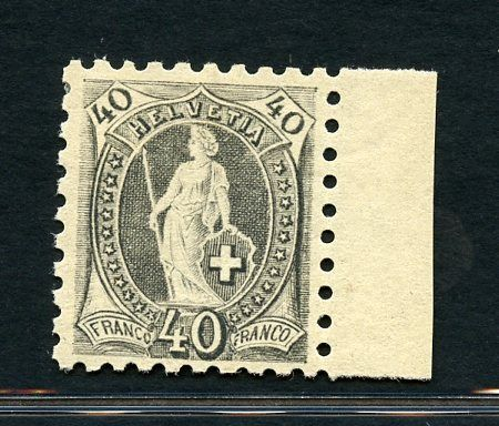 Zwitserland 1888 - Standing Helvetia - 40 c. grey perforation. 9 1/2 - Unificato N. 83