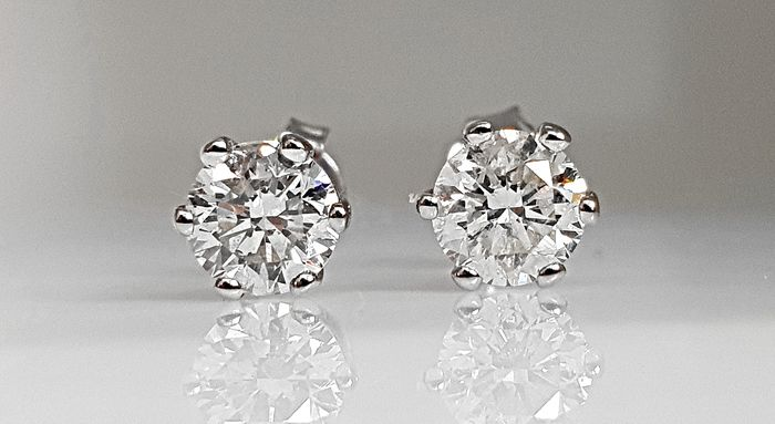 14 kt. White gold - Earrings 1.22 ct Diamond - No Reserve SI1