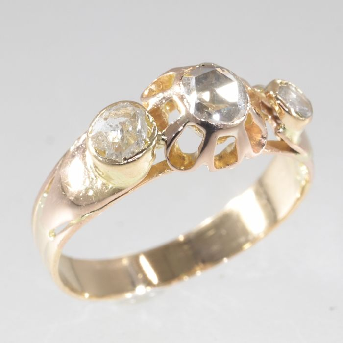 18 kt. Pink gold - Ring, Antique Unique Engagement - Victorian - Anno 1880,  Diamond - Free resizing!* - NO RESERVE PRICE