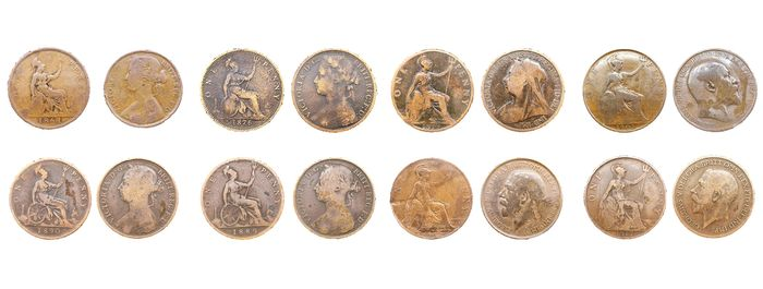 United Kingdom - Penny 1861, 1876, 1889, 1890, 1898, 1907, 1912 and 1917 - Copper