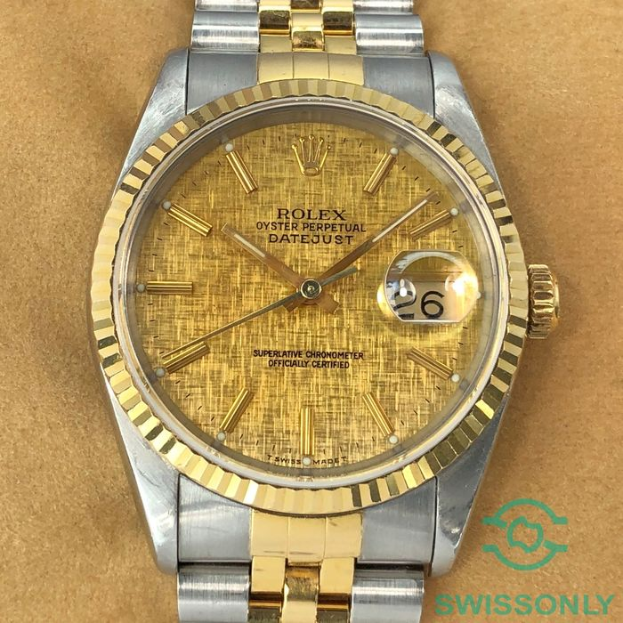 Rolex - Datejust Linen Champagne Dial - 16233 - Herre - 1990-1999