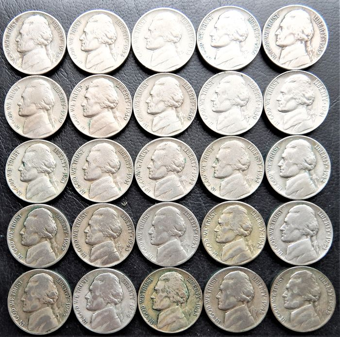 """United States - 5 Cents """"Jefferson"""" years: 1938 to 1945S - 25 coins"""