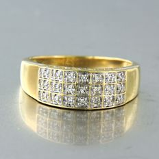 18 karaat Geel goud, Witgoud - Ring - 0.10 ct Diamant