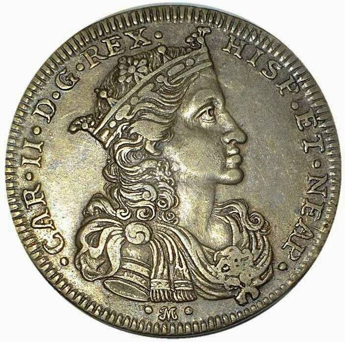 Italy - Kingdom of Naples - CHARLES II OF SPAIN (1674-1700) - Half ducat 1693  - Silver