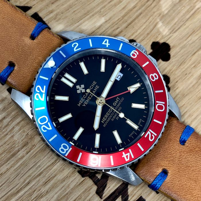 Meccaniche Veneziane - Automatic Watch Nereide GMT 2.0 with 2 Straps - Diaspro Classico - Homem - BRAND NEW