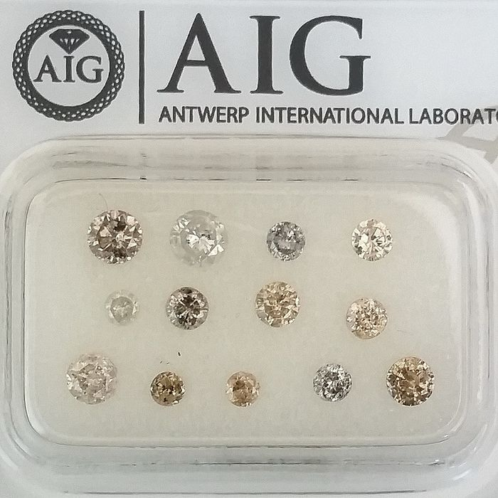 13 pcs Diamanten - 1.02 ct - Rond - Mix Colors - P1, P2, SI1, SI2, ***No Reserve Price***