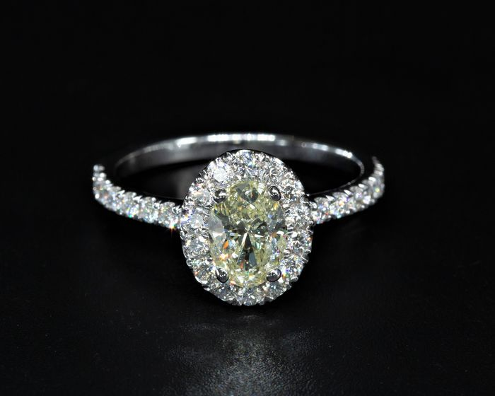 14 kt. White gold - Ring - 1.55 ct Diamond - Fancy Yellow - SI2 - No Reserve Price