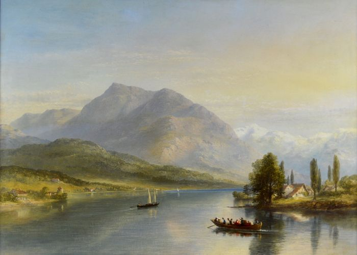 James Poole (1804-1886) - A lake view with mountains in the distance