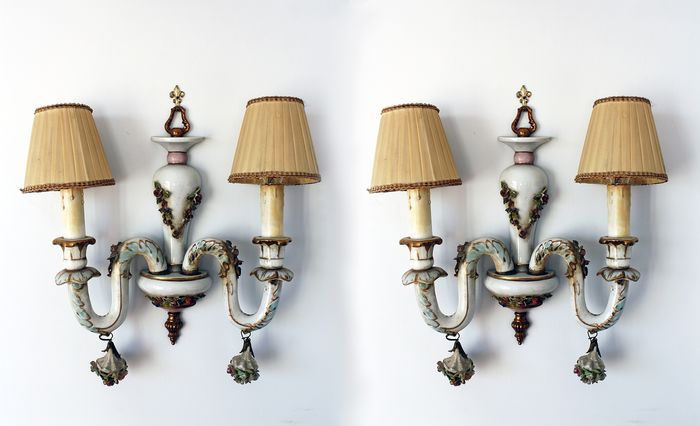 Pair of Capodimonte Porcelain Wall Lights Period 1950s