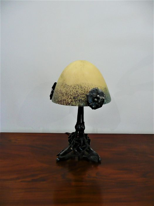 Table Lamp Mushroom Art Deco Wrought Iron Glass Dome 1930 1 Catawiki