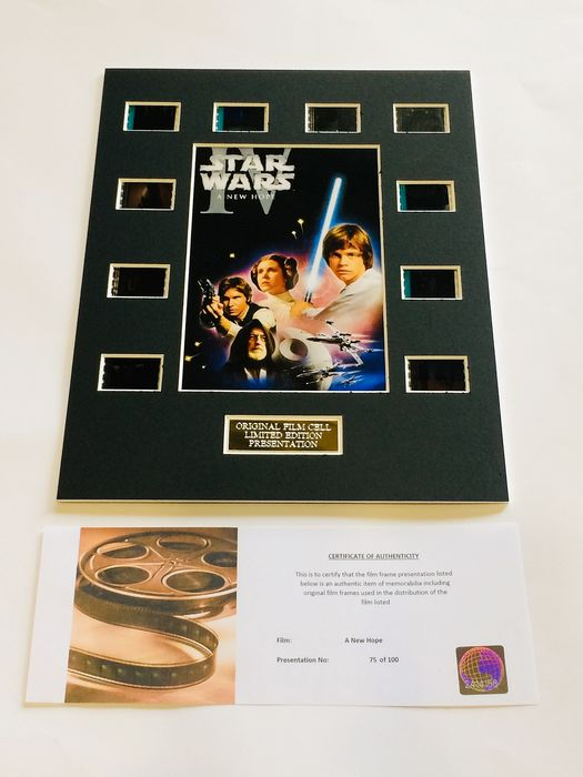 "Starwars ""A New Hope "" - Limited Edition Film Used Cell Display - with Certificate Of Authenticity"