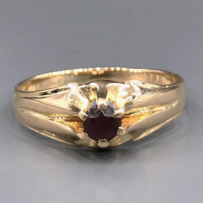 18 quilates Oro amarillo - Anillo - 0.50 ct Granate
