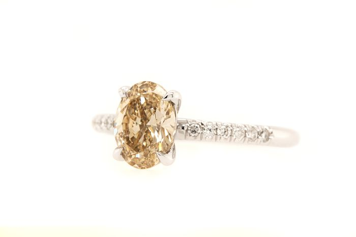 14 kt. White gold - Ring - 1.32 ct Diamond - Light Brown - VS1 - No Reserve Price