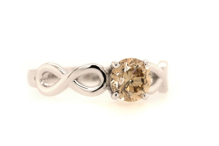14 kt. White gold - Ring - 0.92 ct Diamond - Fancy Light Brown - SI1 - No Reserve Price
