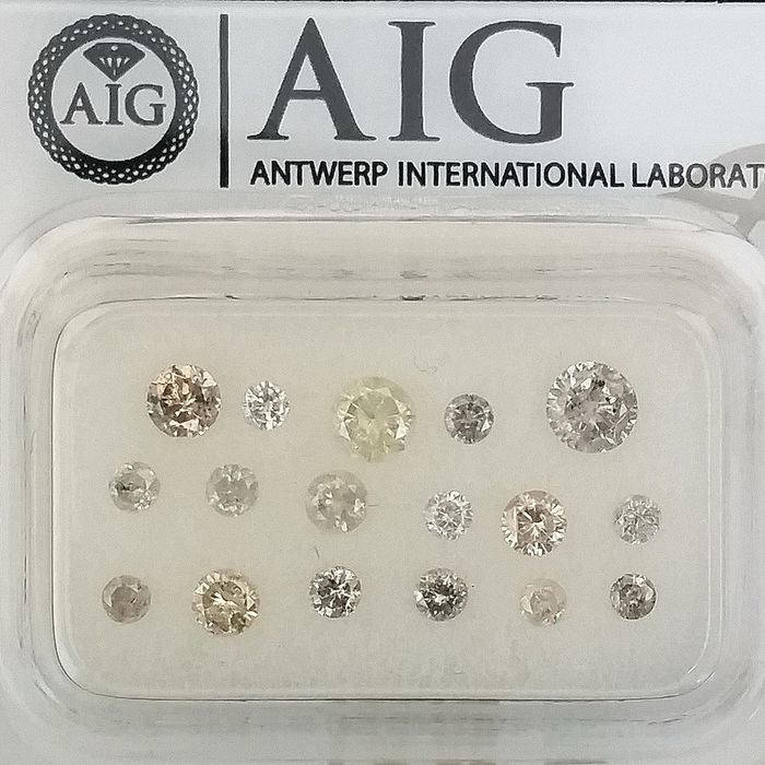 17 pcs Diamonds - 1.00 ct - Round - Mix Colors - I1, I2, SI2, ***No Reserve Price***