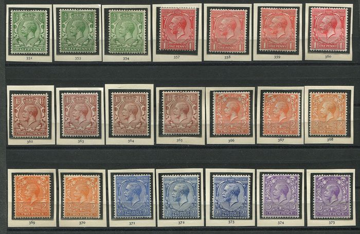 Groot-Brittannië 1912/1924 - Speciaal collectie George V Royal Cypher watermerk - Stanley Gibbons 351-396
