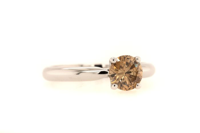 14 kt. White gold - Ring - 0.90 ct Diamond - Fancy Brown - No Reserve Price
