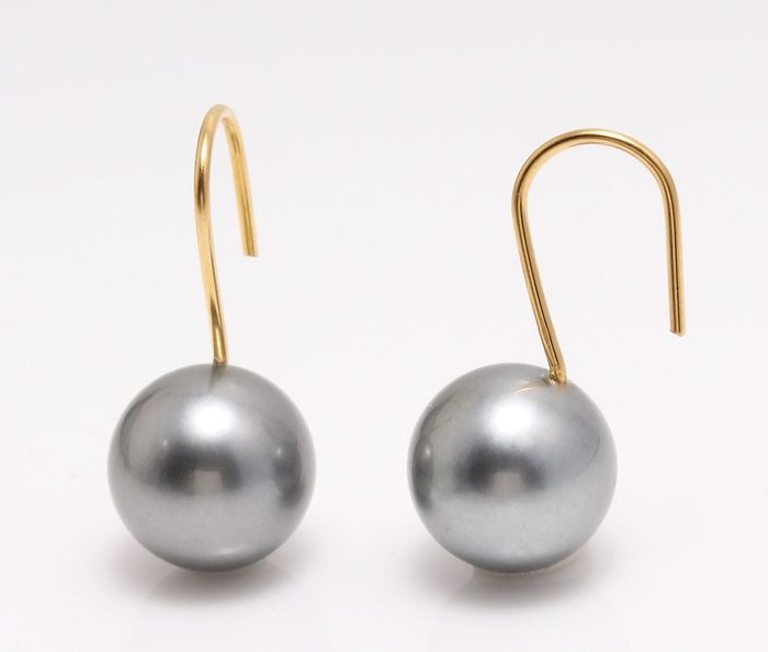 NO RESERVE PRICE - 18 kt. Yellow Gold - 11x12mm Round Tahitian Pearls - Earrings