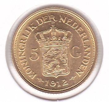 The Netherlands - 5 gulden 1912 Wilhelmina - Gold