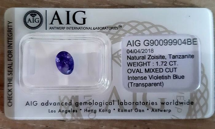 1 pcs Violet / blue Tanzanite - 1.72 ct