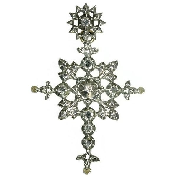 Silver - Pendant, Antique Cross, Anno 1870 - Diamond - NO RESERVE PRICE