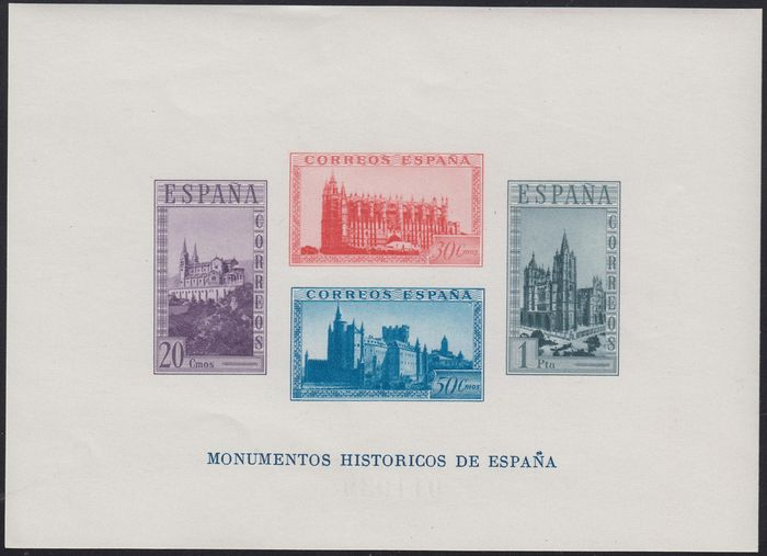 Spanje 1938 - Monuments sheet. Imperforated - Edifil 847s