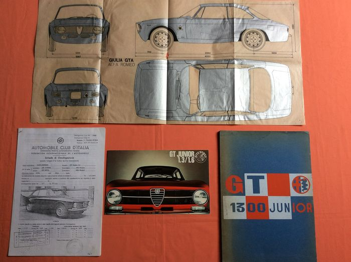Technical documents. Alfaromeo. Gt junior 1.6 - Alfa Romeo - Alfa Romeo technical documents. Gt junior 1.6. For approval and sports. Rare! - 1970-1972
