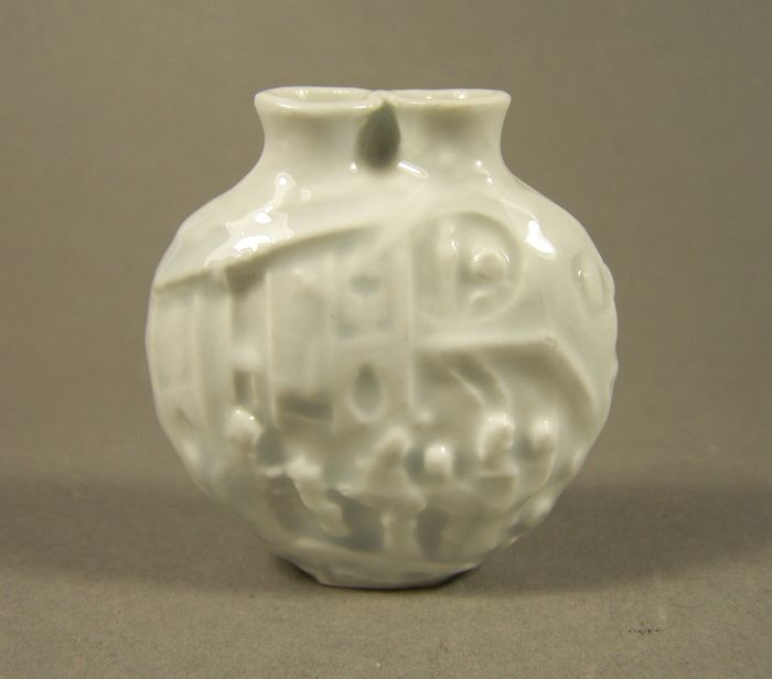 Tabacchiera - Celadon, Qingbai - Porcellana - A rare 'qingbai' celadon relief decorated double snuff bottle, ca 1900 - Cina - Guangxu (1875-1908)