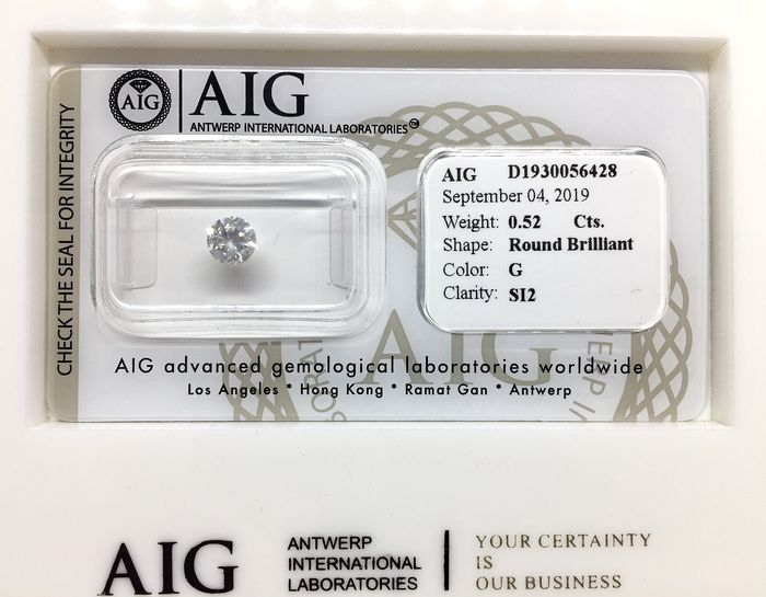 1 pcs Diamond - 0.52 ct - Brilliant, Round - G - SI2