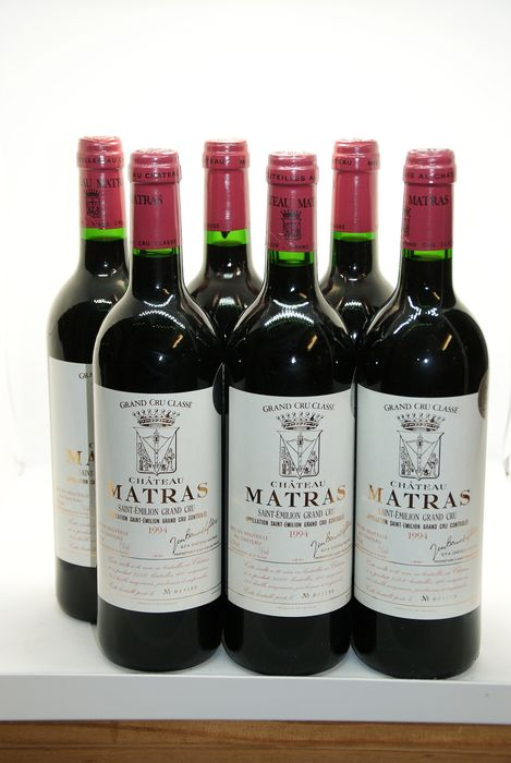 1994 Chateau Matras - Saint-Emilion Grand Cru Classé - 6 Bottles (0.75L)