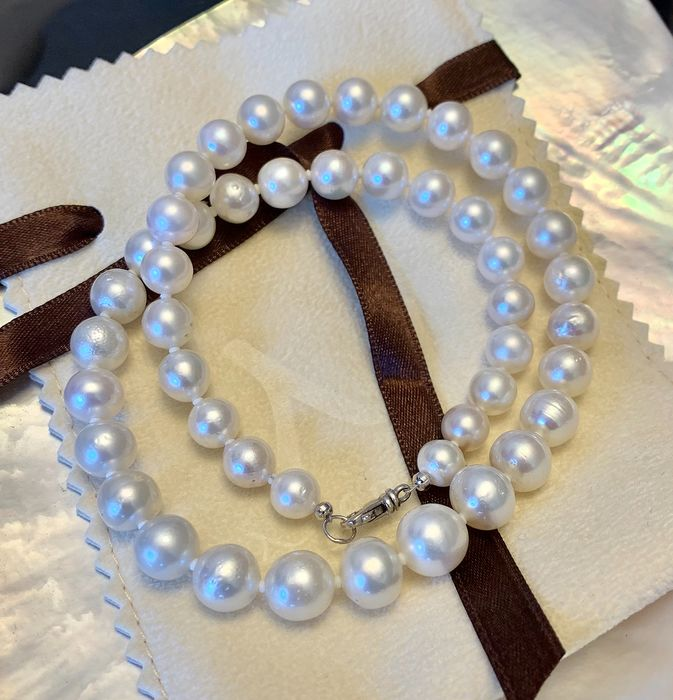 925 Saltwater pearls, Silver, South sea pearls, Size from 8 to 10,5MM #No Reserve Price# - Necklace
