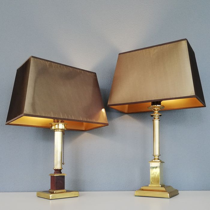 Herda - Pair of Neoclassical Column lamps - 1970s