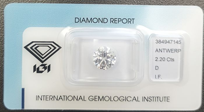1 pcs Diamond - 2.20 ct - Round - D (colourless) - IF (flawless), LC (loupe clean)