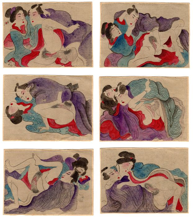 Shunga, Woodblock print (6) - Six Couple of Lovers in the Edo Period Style with Hand Coloured Details - first half of the 20th century