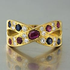 18 carats Or jaune - Bague - 0.50 ct Rubis - Diamant, Saphir