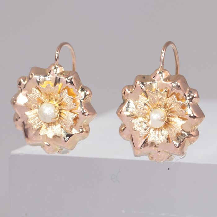 18 kt. Pink gold - Earrings, Short Hanging - Antique - Anno 1880 - Pearl - NO RESERVE PRICE